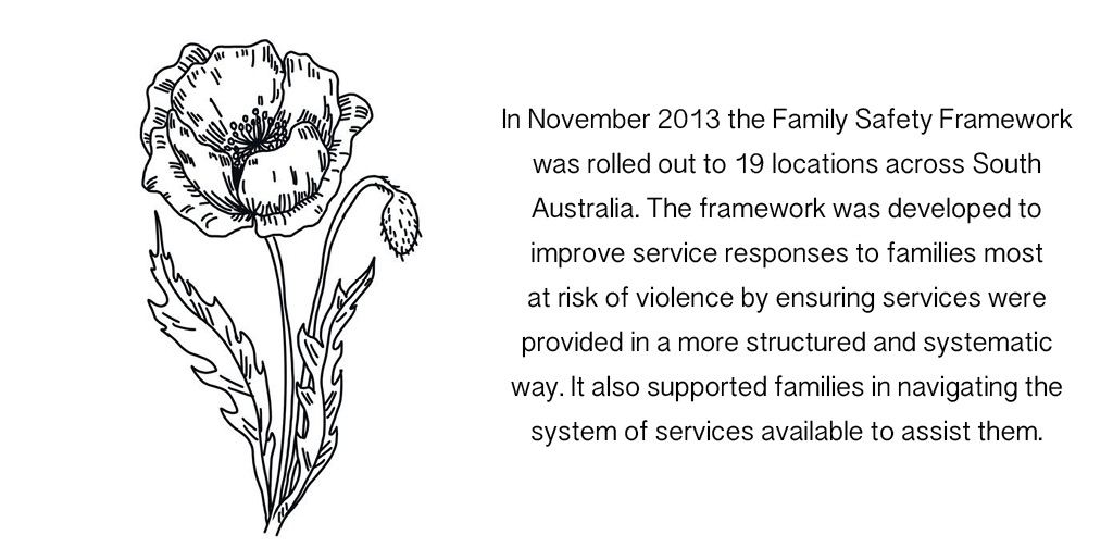 In November 2013 the Family Safety Framework was rolled out to 19 locations across South Australia. The framework was developed to improve service responses to families most at risk of violence by ensuring services were provided in a more structured and systematic way. It also supported families in navigating the system of services available to assist them.