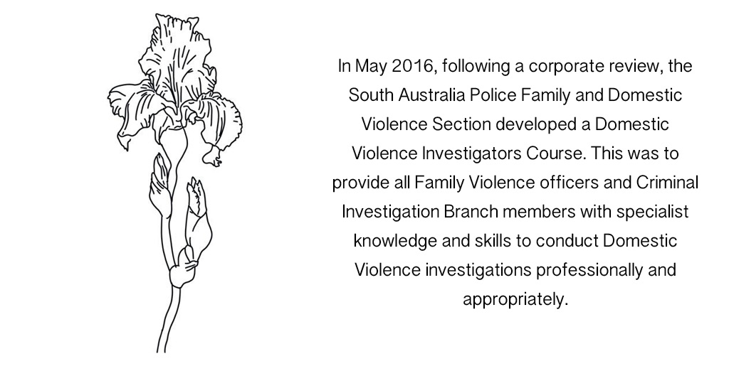 In May 2016, following a corporate review, the South Australia Police Family and Domestic Violence Section developed a Domestic Violence Investigators Course. This was to provide all Family Violence officers and Criminal Investigation Branch members with specialist knowledge and skills to conduct Domestic Violence investigations professionally and appropriately.